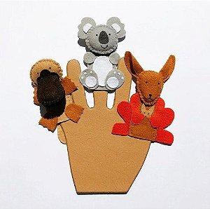 Kit de Dedoches 3D em Feltro - Animais Australianos 3 Peças