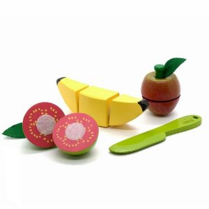 Kit Frutinhas Com Corte Goiaba, Banana E Maça em Madeira
