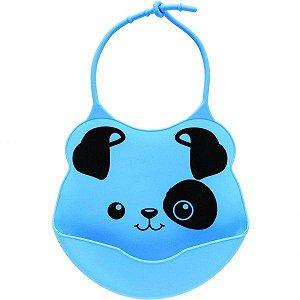 Babador para Bebê Infantil Silicone Azul