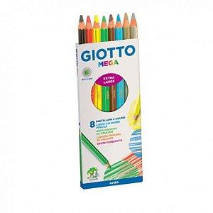 Lápis de Cor Grosso 8 Cores Mega Giotto