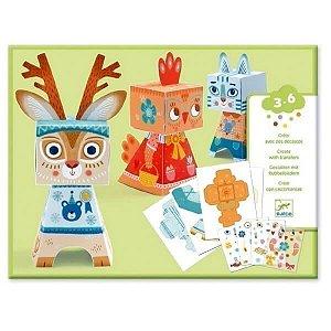 Criações em Papel e Decalques Animais divertidos Djeco