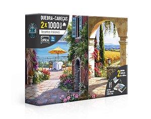 Quebra-Cabeça 2x 1000 Peças Recantos Italianos - Toscana e Vinha