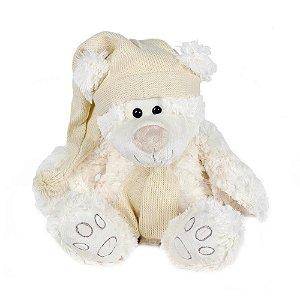 Urso Branco com Gorro e Roupa de Tricot Médio