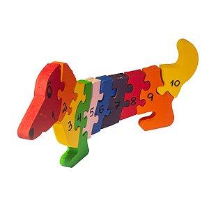 Quebra-Cabeça  em Madeira Cachorro com Números