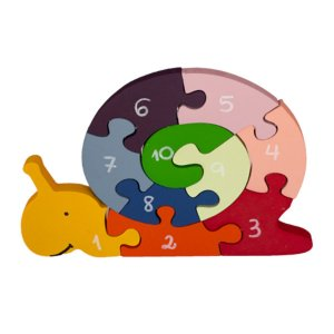 Quebra-Cabeça em Madeira Caracol com Números