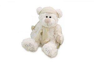 Urso Branco com Gorro e Roupa de Tricot Pequeno