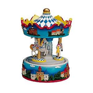 Caixa De Musica Carrossel 3 Cavalinhos em Resina
