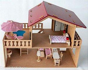 Casa com Piscina com Móveis em Madeiras