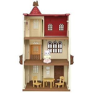 Casa com Torre e Telhado Vermelho