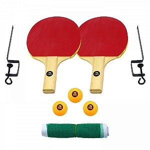 Kit Tenis de Mesa 2 Raquetes 3 Bolinhas Suporte e Rede