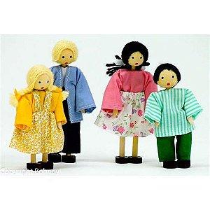 Kit Família com 4 Bonecos Brancos