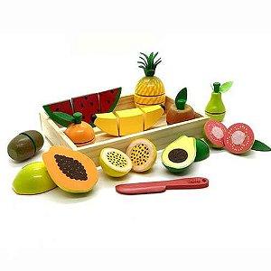 Colecao Comidinha Kit 01 Frutas 11pA com corte + faca + c