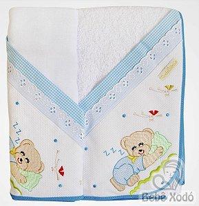 Jogo de Toalha 2 peças - Ursinho Azul Bebê