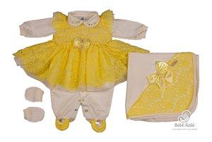 Saida Maternidade Renda Paris Amarelo