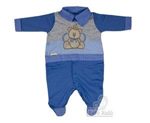 Macacão Ursinho Rei - Azul bebê