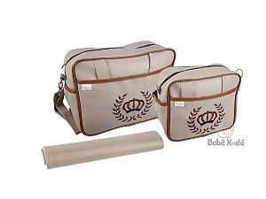 Conjunto de bolsas 3 peças - Coroa Marrom