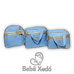 Kit Bolsa Com Mochila Azul Bebê