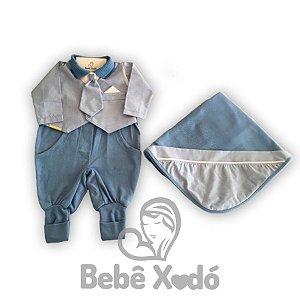 Saida Maternidade Com Gravata Azul bebê - Plush