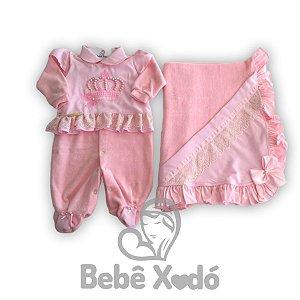 Saida Maternidade Coroa Rosa Bebê - Plush