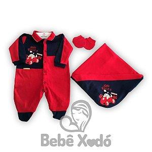 Saida Maternidade Carrinho de Corrida Vermelho Com Azul Marinho- Plush