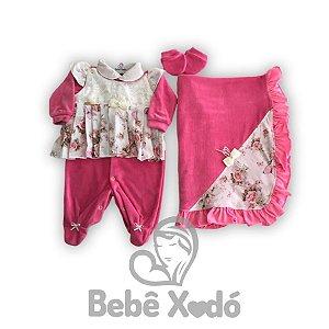 Saida Maternidade Rosa Escuro Flores - Plush