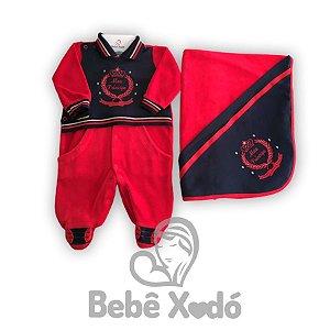 Saida Maternidade Meu Príncipe Vermelho Com Azul Marinho - Plush