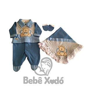 Saida Maternidade Ursinho Rei Azul Marinho - Plush