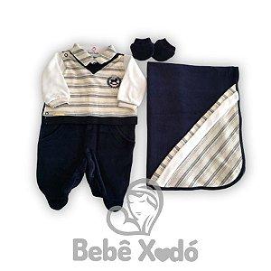 Saida Maternidade Cavalinho Azul Marinho Com Bege- Plush