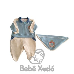 Saida Maternidade Com Brasão Bordado Azul Bebê - Plush