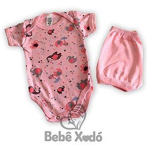 Conjunto Body e Short  - Rosa bebê