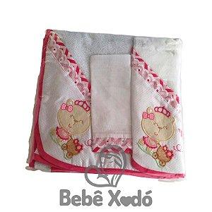 Jogo de Toalha 2 peças - Ursinha Rosa Pink