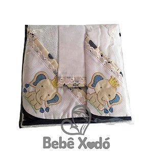 Jogo de Toalha 2 peças - Elefantinho Azul Marinho