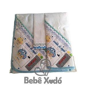 Jogo de Toalha 2 peças - Carrinho Azul Bebê
