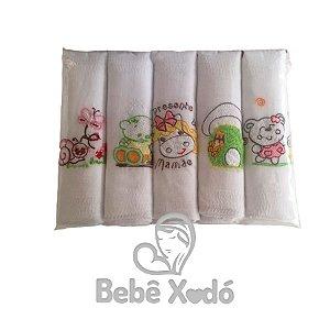 Fraldas De Pano 5 Peças Bordadas Rosa Bebê