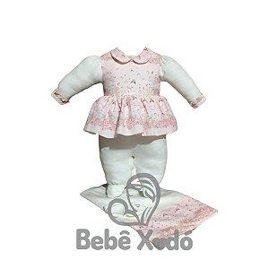 Saida de maternidade 3 peças Estampada Rosa bebê