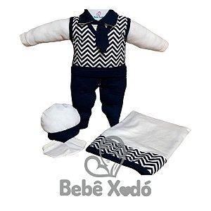Saída Maternidade - Chevron Azul Marinho