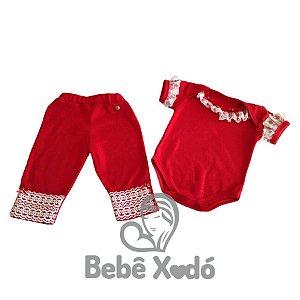 Conjunto Body e Calça - Tamanho Único Vermelho