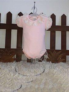 Body Na Malha Rosa Bebê