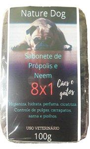 SABONETE ANTIPULGAS PRÓPOLIS 8X1 PARA CÃES E GATOS NATURE DOG - PULGAS,CARRAPATOS,SARNAS E PIOLHOS 100G