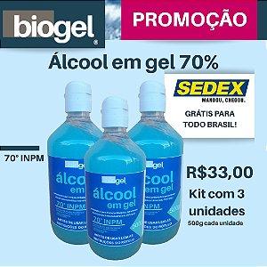 Kit Álcool Em Gel 70% 3 unidades  500g