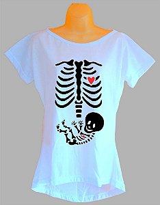 Camiseta Para Grávida e Gestante Radiografia Esqueleto