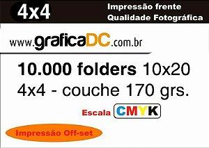 10.000 folders 10x20 - colorido frente e verso- couche 170 grs.