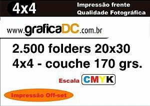 2.500 folders 20x30 -  colorido frente e verso   - couche 170 grs.