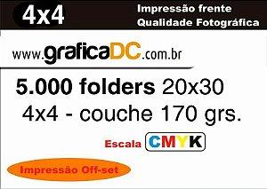 5.000 folders 20x30 - colorido frente e verso - couche 170 grs.