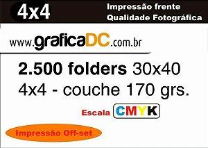 2.500 folders 30x40 -  colorido frente e verso   - couche 170 grs.