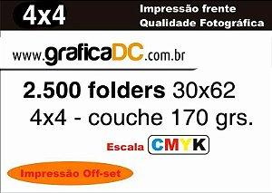 2.500 folders 30x62 -  colorido frente e verso  - couche 170 grs.