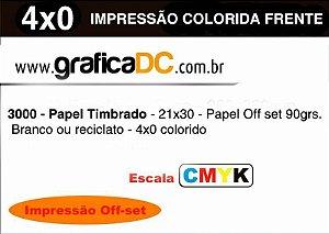 3000 - Papel Timbrado - 21x30 - Papel Off set 90grs. - Branco ou reciclato - 4x0 colorido