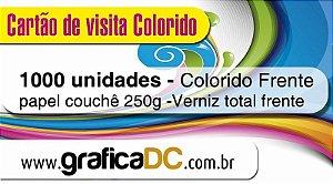 1000 cartões de visita - colorido frente - papel couchê 250g - verniz total frente