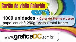 1000 cartões de visita - colorido frente e verso - papel couchê 250g - verniz total frente