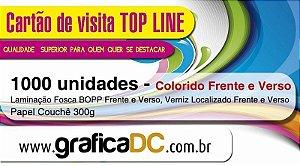 1000 cartões de visita - colorido frente e verso - Laminação Fosca BOPP frente e verso - Verniz Localizado Frente e Verso - papel couchê 300g.